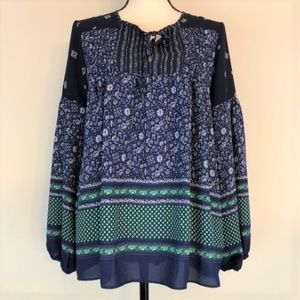 GAP | Long Sleeve Boho Floral Print Top Size M